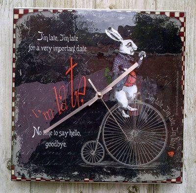 white rabbit clock